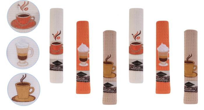 Set 6 prosoape de bucatarie 40x60 cm, bumbac 100%, model coffee cup, multicolor 0