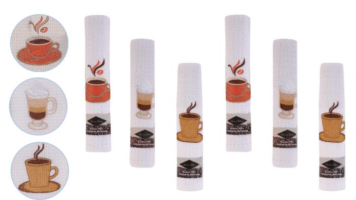 Set 6 prosoape de bucatarie 40x60 cm, bumbac 100%, model coffee cup 0