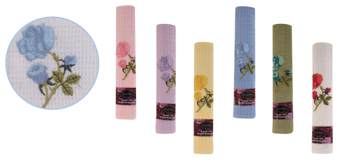 Set 6 prosoape de bucatarie 40x60 cm, bumbac 100%, model trandafiri, multicolor 0