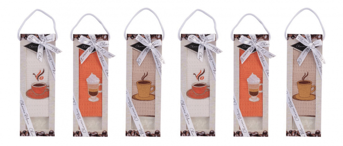 Set prosop de bucatarie 50x70 cm, bumbac 100% + sapun natural, model coffee cup, alb 1