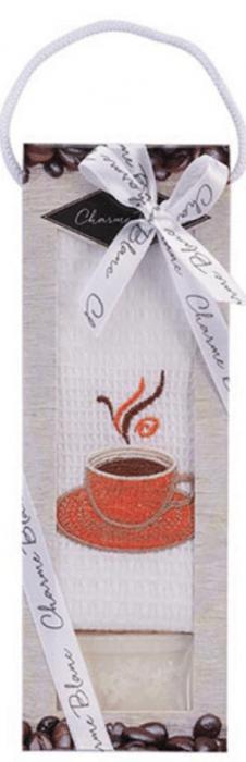 Set prosop de bucatarie 50x70 cm, bumbac 100% + sapun natural, model coffee cup, alb 0
