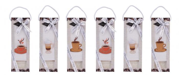 Set prosop de bucatarie 50x70 cm, bumbac 100% + sapun natural, model coffee cup, alb 2