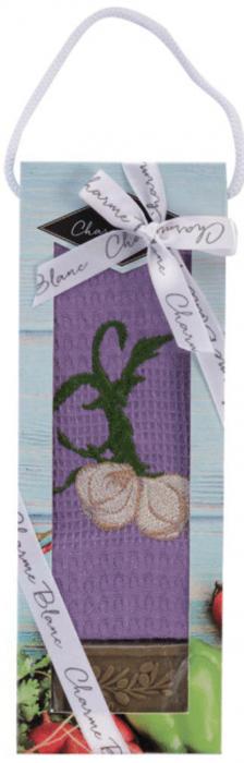 Set prosop de bucatarie 50x70 cm, bumbac 100% + sapun natural, model usturoi, violet 0