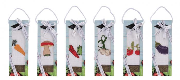 Set prosop de bucatarie 50x70 cm, bumbac 100% + sapun natural, model usturoi, violet 1