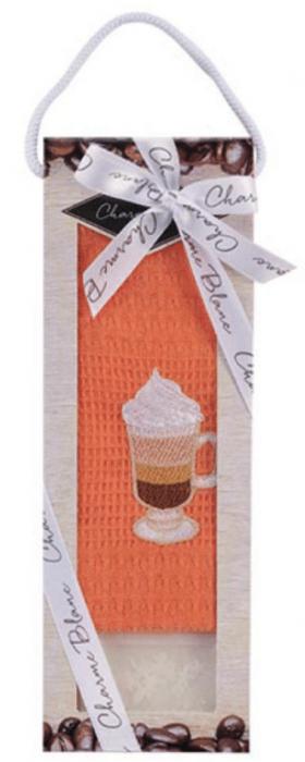 Set prosop de bucatarie 50x70 cm, bumbac 100% + sapun natural, model cappuccino, orange 0