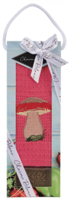 Set prosop de bucatarie 50x70 cm, bumbac 100% + sapun natural, model ciuperca, roz 0