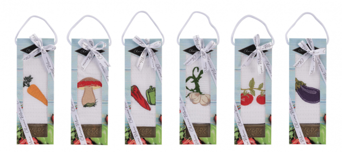 Set prosop de bucatarie 50x70 cm, bumbac 100% + sapun natural, model vanata, alb 2
