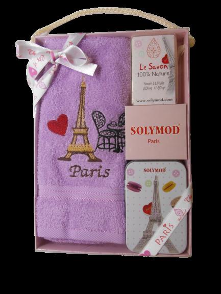 Set prosop de toaleta bumbac 100% + sapun + savoniera, model Paris, mov 0