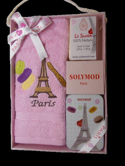 Set prosop de toaleta bumbac 100% + sapun + savoniera, model Paris, roz 0