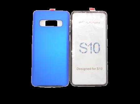 Husa protectie 360° full TPU+PC, spate albastru, fata transparenta, Samsung S100