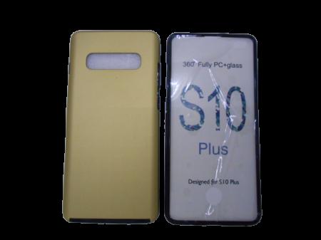 Husa protectie 360° full TPU+PC, spate auriu, fata transparenta, Samsung S10 Plus1
