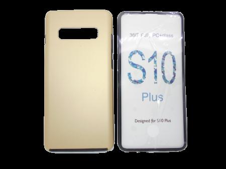 Husa protectie 360° full TPU+PC, spate auriu, fata transparenta, Samsung S10 Plus0