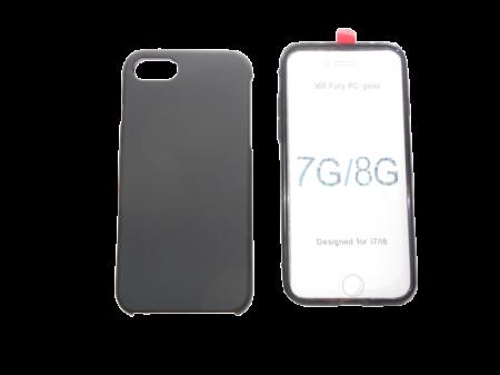 Husa protectie 360° full TPU+PC, spate negru, fata transparenta, iPhone 7, iPhone 8, 7G, 8G0