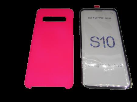 Husa protectie 360° full TPU+PC, spate roz, fata transparenta, Samsung S101