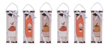 Set prosop de bucatarie 50x70 cm, bumbac 100% + sapun natural, model coffee cup, alb1