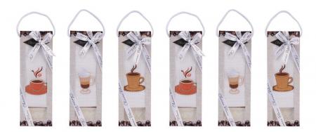 Set prosop de bucatarie 50x70 cm, bumbac 100% + sapun natural, model coffee cup, alb2