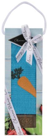 Set prosop de bucatarie 50x70 cm, bumbac 100% + sapun natural, model morcov, albastru0