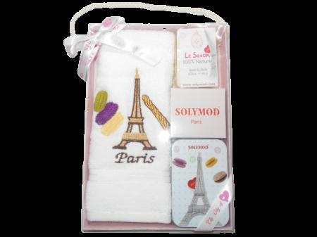 Set prosop de toaleta bumbac 100% + sapun + savoniera, model Paris, alb0