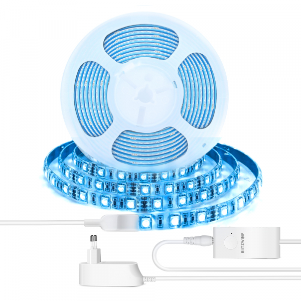 Banda LED RGBW Blitzwolf smart, Wi-Fi, 1250 lumeni, 16 mil culori, IP44, compatibila Google & Alexa, 5 metri 0