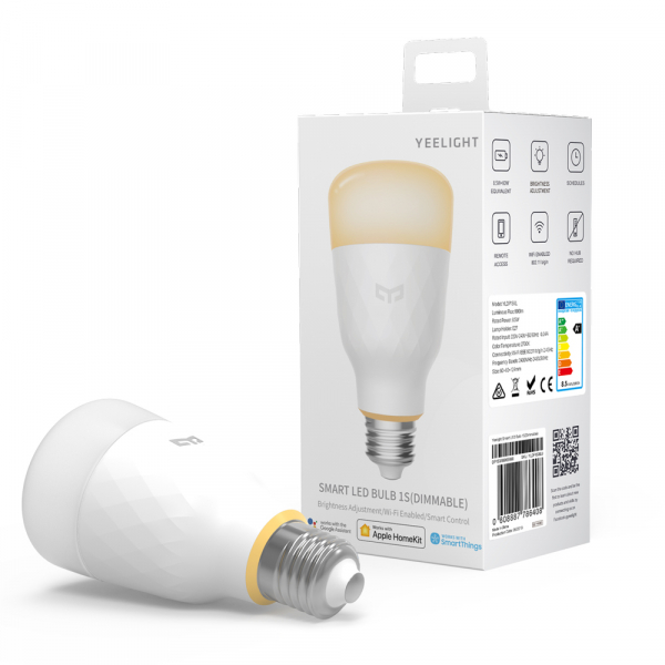 Bec Smart LED Xiaomi Yeelight 1S, alb, 8.5 watt, 800 lumeni, WiFi, Google, Homekit, SmartThings 0