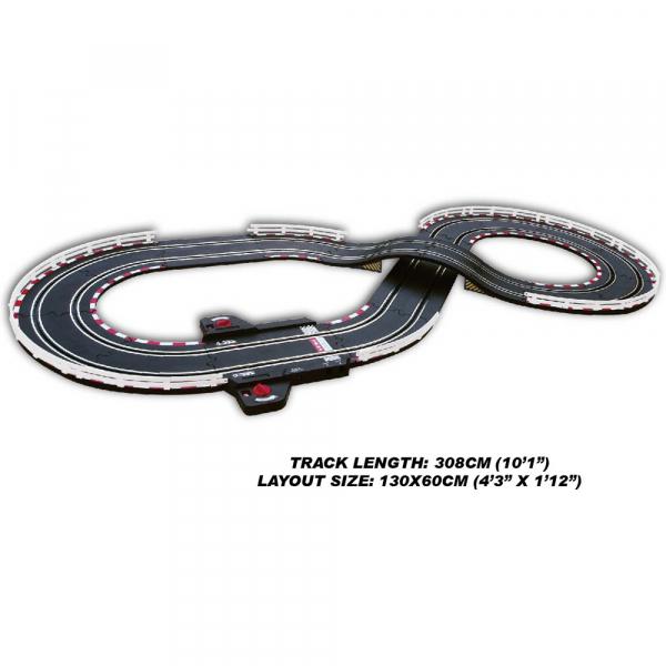 Circuit masinute cu telecomanda Joysway Super 152, lungime 308cm, alimentare cu USB, scala 1:43, faruri LED 2