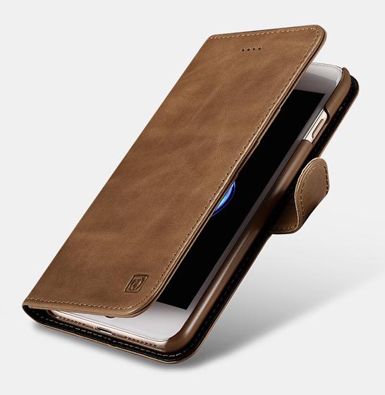 Husa din piele naturala ICARER, iPhone 7Plus / 8Plus, spate detasabil, compartimente card 0