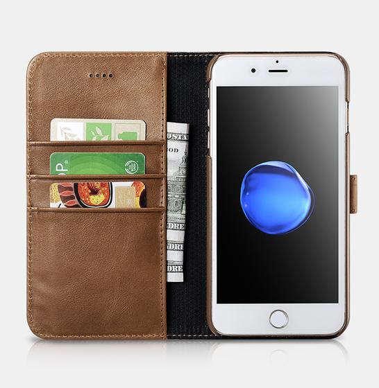 Husa din piele naturala ICARER, iPhone 7Plus / 8Plus, spate detasabil, compartimente card 1
