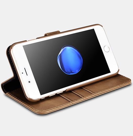 Husa din piele naturala ICARER, iPhone 7Plus / 8Plus, spate detasabil, compartimente card 3