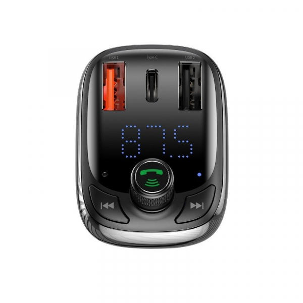 Incarcator si modulator FM Baseus, bluetooth 5.0, incarcare QC 3.0, type-C QC 4.0 & PD, afisaj LED, 2 x USB, slot micro SD 1