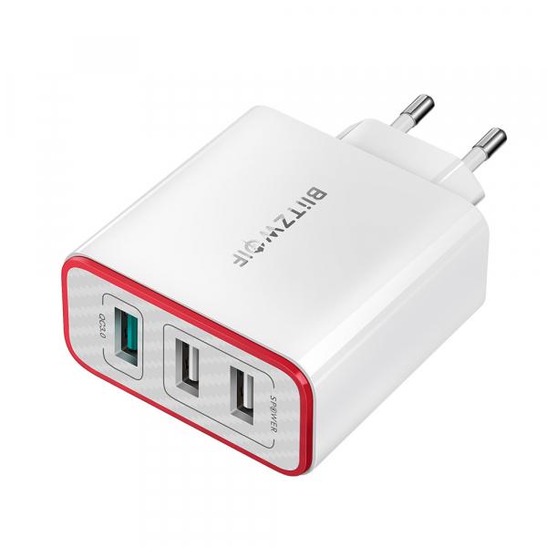 Incarcator telefon Blitzwolf PL2, 30W, 1 port 3A Quick Charge 3.0 plus 2 porturi USB cu Spower 2.4A, EU, alb 1