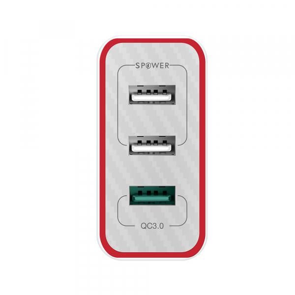 Incarcator telefon Blitzwolf PL2, 30W, 1 port 3A Quick Charge 3.0 plus 2 porturi USB cu Spower 2.4A, EU, alb 2