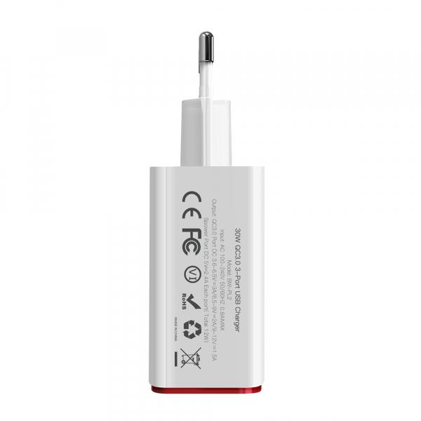 Incarcator telefon Blitzwolf PL2, 30W, 1 port 3A Quick Charge 3.0 plus 2 porturi USB cu Spower 2.4A, EU, alb 3