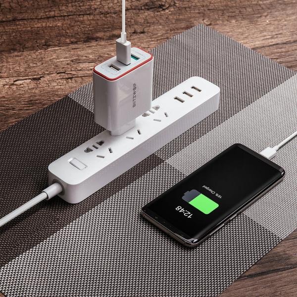 Incarcator telefon Blitzwolf PL2, 30W, 1 port 3A Quick Charge 3.0 plus 2 porturi USB cu Spower 2.4A, EU, alb 4