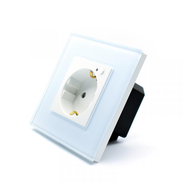 Priza inteligenta Vhub, rama din sticla, Wireless 2.4GHz, 16A, cu protectie, compatibila Google & Alexa, alba 1