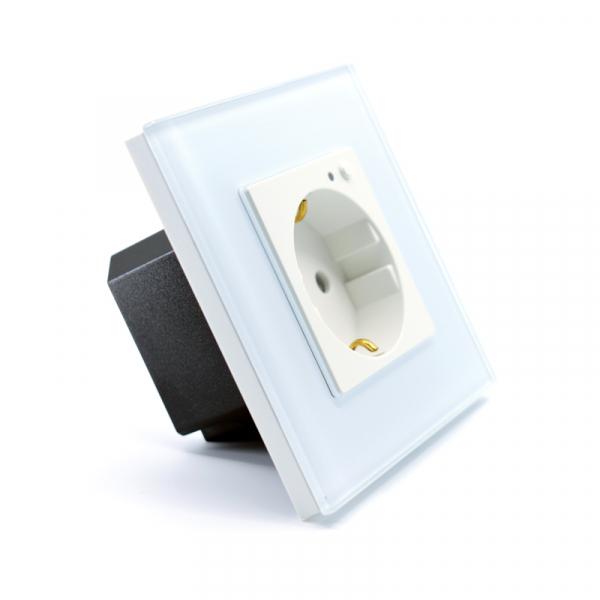 Priza inteligenta Vhub, rama din sticla, Wireless 2.4GHz, 16A, cu protectie, compatibila Google & Alexa, alba