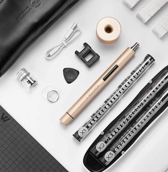 Set surubelnita electrica Xiaomi Wowstick 1+, 88 accesorii, 200r/min, LED, baterie 500mAh , gold