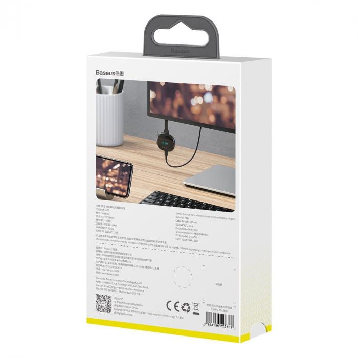 Adaptor HDMI wireless Baseus 4K 30Hz, WiFi, streaming media, jocuri de pe telefon pe TV, compatibil Android & iOS 4
