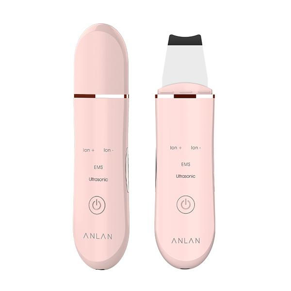 Aparat curatare Anlan Scrubber Ultrasonic ionic, peeling, masaj EMS, elimina puncte negre, 24000 vibratii/secunda, pink 0