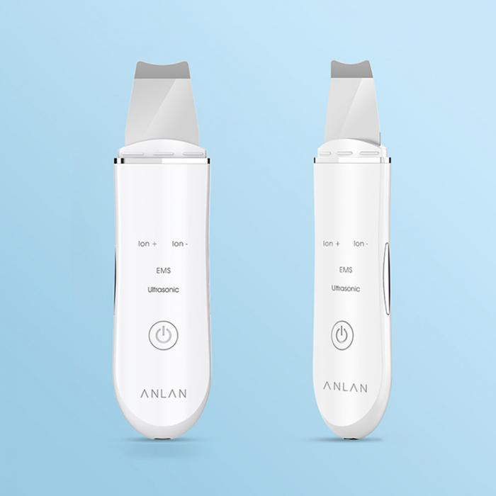 Aparat curatare faciala Anlan Scrubber Ultrasonic ionic, peeling, masaj EMS, hidratare, 24000 vibratii/secunda, alb 2