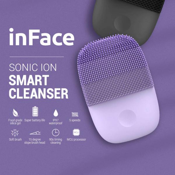 Aparat curatare faciala Xiaomi inFace Sonic, silicon medicinal, generatia a 2-a, 5 programe, waterproof IPX7, Negru 1