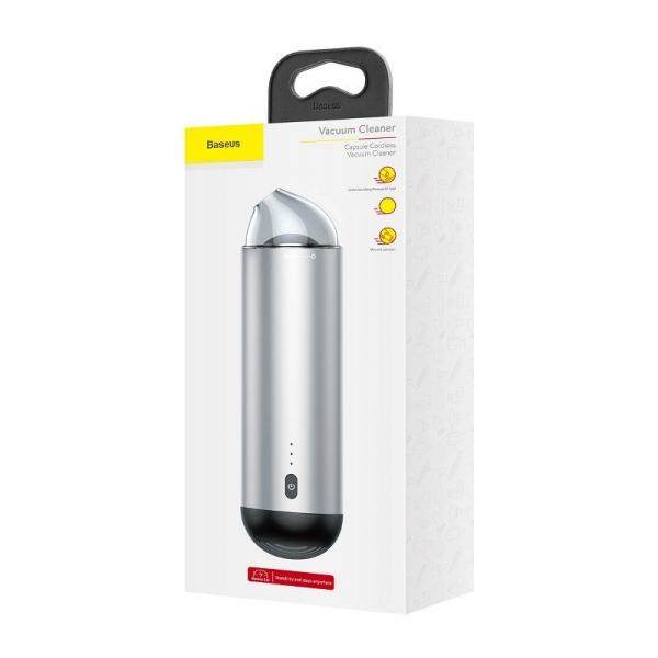 Aspirator auto wireless Baseus Capsule, 65W, 4000Pa, 2000 mAh, 25 minute autonomie, filtrare tripla, silver 1
