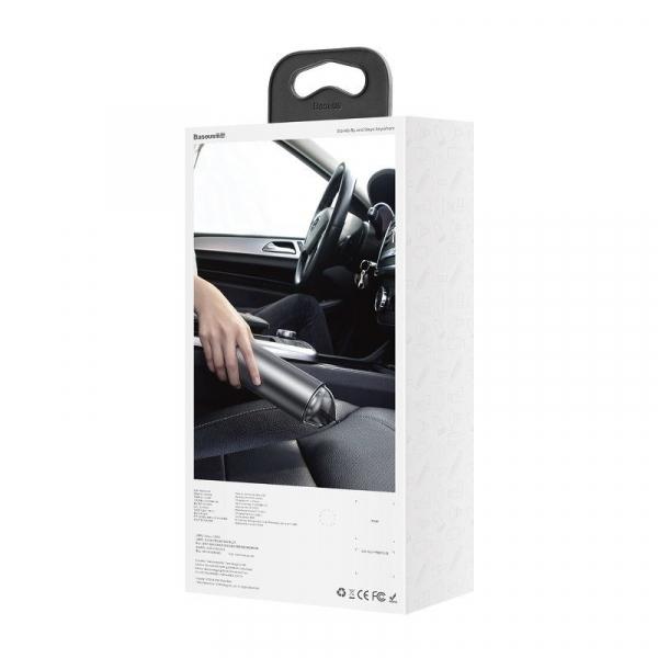 Aspirator auto wireless Baseus Capsule, 65W, 4000Pa, 2000 mAh, 25 minute autonomie, filtrare tripla, silver 2