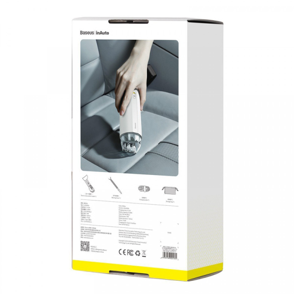 Aspirator auto wireless Baseus A2 generatia a 2-a, alb, 70W, 5000Pa putere de absorbtie, HEPA, 6000mAh [5]