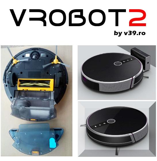 Aspirator smart VROBOT-II, control de la distanta, WiFi, functie de spalare, compatibil Google, Alexa, resigilat 2