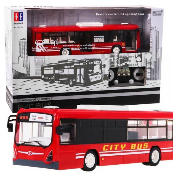 Autobuz RC cu telecomanda Double Eagle, scala 1:20, rosu, 5.5Km/h, lumini fata/spate, sunete demo, usi automate 1