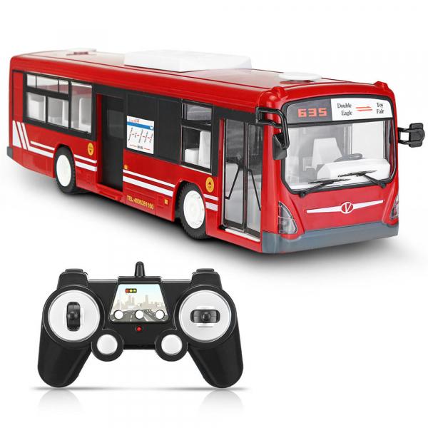 Autobuz RC cu telecomanda Double Eagle, scala 1:20, rosu, 5.5Km/h, lumini fata/spate, sunete demo, usi automate 0