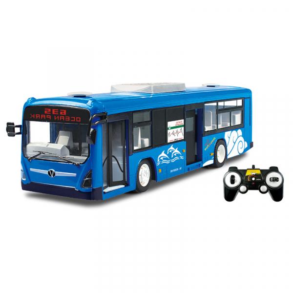 Autobuz de jucarie RC cu telecomanda Double Eagle, albastru, 5.5Km/h, lumini fata/spate, sunete demo, usi automate 0