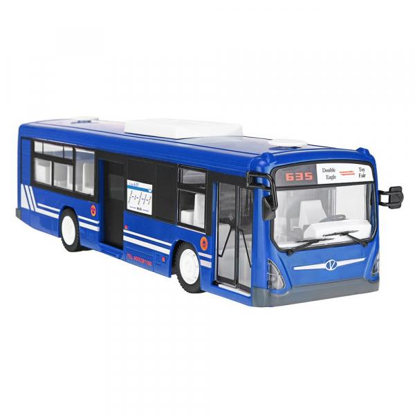 Autobuz de jucarie RC cu telecomanda Double Eagle, albastru, 5.5Km/h, lumini fata/spate, sunete demo, usi automate 1