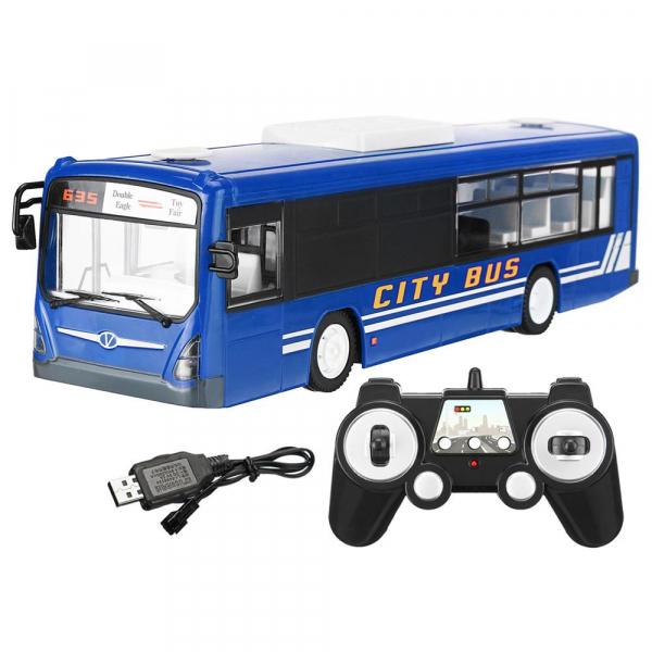 Autobuz de jucarie RC cu telecomanda Double Eagle, albastru, 5.5Km/h, lumini fata/spate, sunete demo, usi automate 3