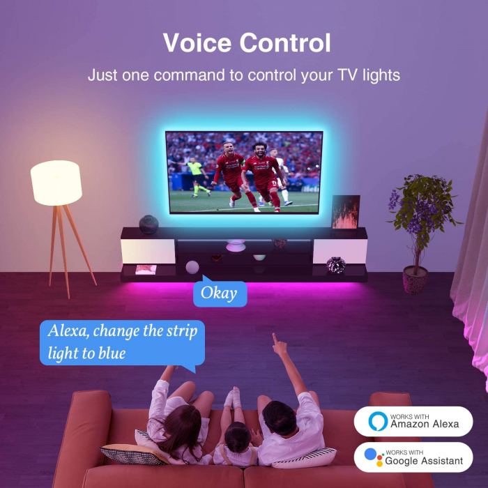 Banda LED smart RGB Gosund SL1 NiteBird, 2.8 metri, WiFi, compatibila ecosistem Smart Life, Google Home, Alexa 3